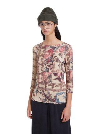 Desigual béžové tričko TS Arlés s barevnými motivy