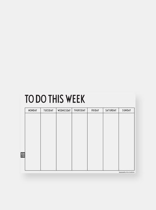 Bílý týdenní plánovací kalendář Design Letters