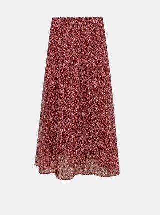 Červená vzorovaná maxi sukně VERO MODA Kay