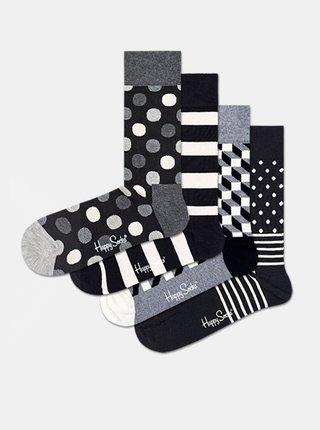 Sada štyroch párov vzorovaných ponožiek v čierno-bielej farbe Happy Socks Black & White