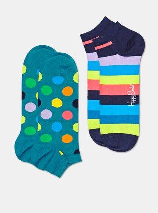 Sada dvoch párov modrých členkových ponožiek Happy Socks Big Dot
