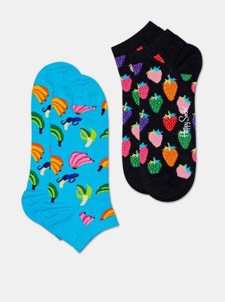 Sada dvoch párov členkových ponožiek v modrej a čiernej farbe Happy Socks Banana