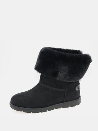 Čierne dámske zimné topánky v semišovej úprave Tom Tailor