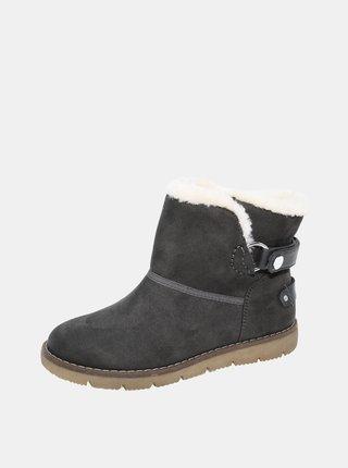Šedé dámské zimní boty v semišové úpravě Tom Tailor