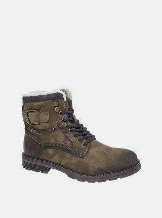 Hnědé pánské zimní kotníkové boty v semišové úpravě Tom Tailor