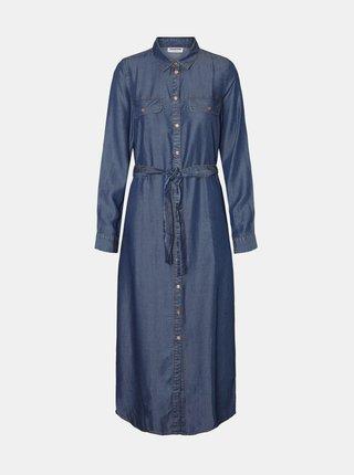 Modré rifľové košeľové maxišaty Noisy May Cersei