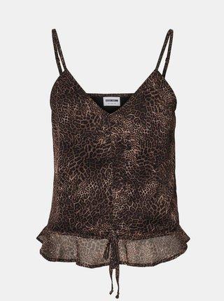 Černo-hnědý top s leopardím vzorem Noisy May Melina