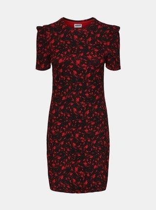 Červeno-čierne vzorované púzdrové šaty Noisy May Lea