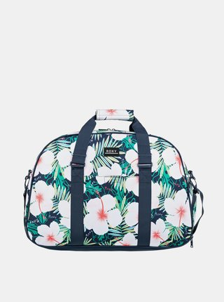 Tmavě modrá květovaná cestovní taška Roxy