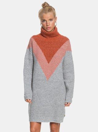Tehlovo-šedé svetrové šaty Roxy