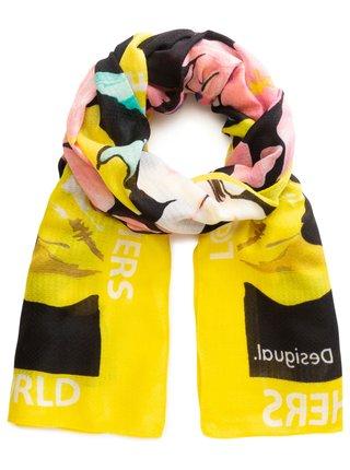 Desigual žlutý šátek Foul Sporty Flower