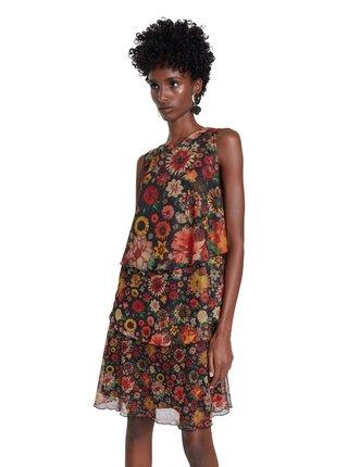 Desigual tmavé květinové šaty Vest Luisi