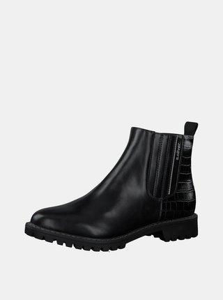 Čierne dámske chelsea topánky s krokodýlím vzorom s.Oliver