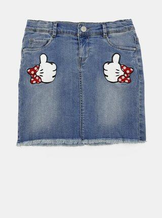 Modrá dievčenská rifľová sukňa s nášivkami name it Minnie