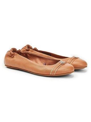 Tommy Hilfiger karamelové baleríny Block Branding Ballerina Copper Canyon