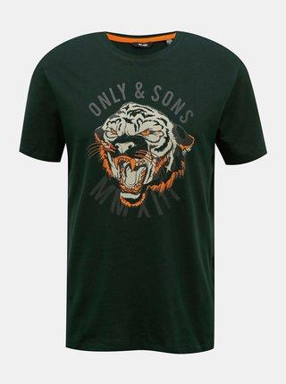 Tmavě zelené tričko s potiskem ONLY & SONS Mike