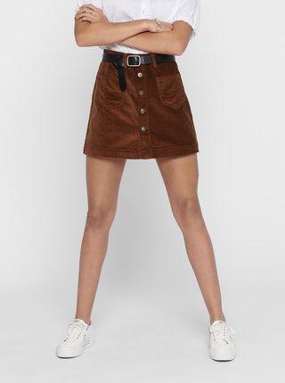 Hnedá menčestrová sukňa ONLY Amazing