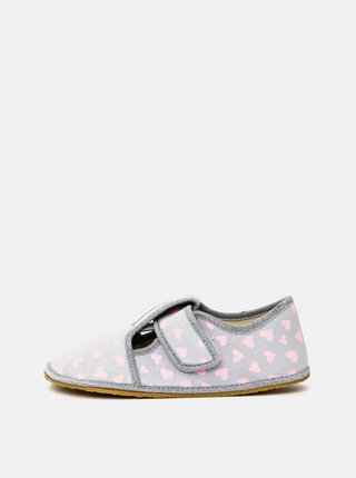 Šedé dievčenské vzorované papuče 3F