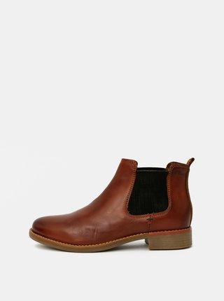 Hnedé dámske kožené chelsea topánky s.Oliver