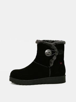 Černé dámské zimní boty v semišové úpravě s.Oliver