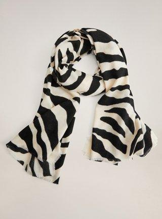 Černo-krémový vzorovaný šátek Mango