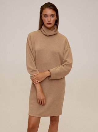 Béžové svetrové šaty s rolákem Mango
