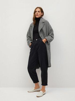 Černo-šedý vzorovaný vlněný kabát Mango