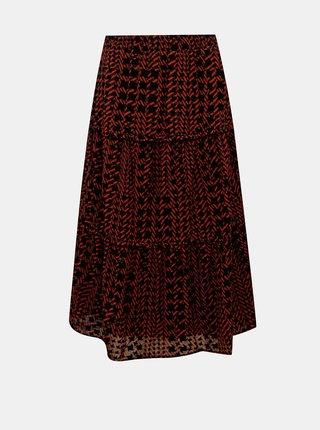 Červeno-čierna vzorovaná midi sukňa Noisy May Jane