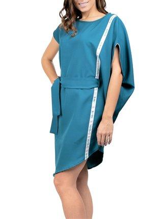 Simpo petrolejové asymetrické šaty Storm s páskem