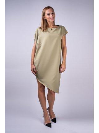 Simpo khaki asymetrické šaty Storm bez pásku