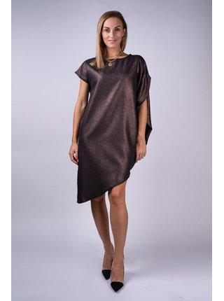 Simpo černé metalické asymetrické šaty Storm bez pásku