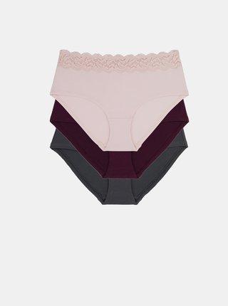 Sada tří kalhotek v šedé, fialové a růžové barvě DORINA