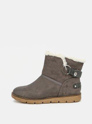 Šedé dámske zimné topánky v semišové úprave Tom Tailor