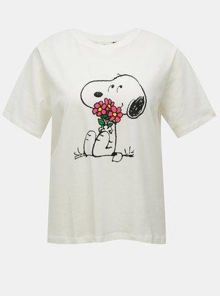 Biele voľné tričko s potlačou Jacqueline de Yong Peanut