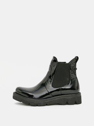 Čierne dámske kožené chelsea topánky WILD