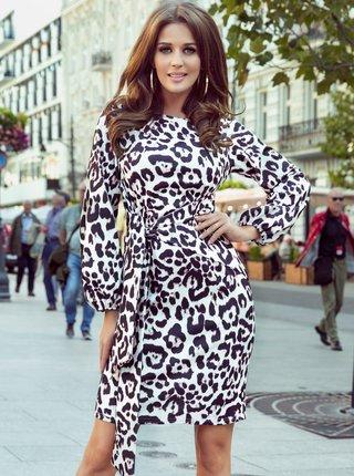 Hnedo-biele šaty s leopardím vzorom numoco