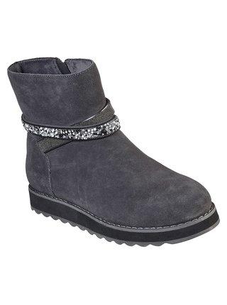 Skechers šedé zimní boty Keepsakes 2.0 Charcoal s ozdobným páskem