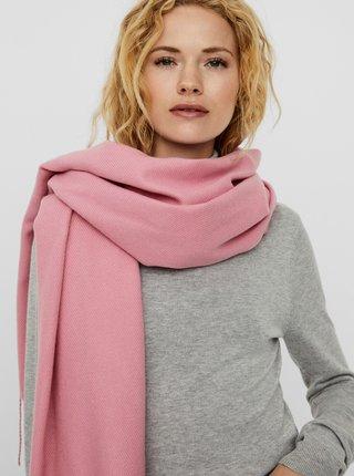 Ružový šál VERO MODA Solid