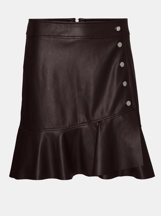 Tmavohnedá koženková sukňa VERO MODA Liv
