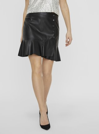 Čierna koženková sukňa VERO MODA Liv