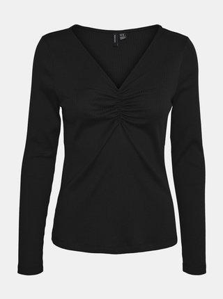 Čierne rebrované tričko VERO MODA Polly