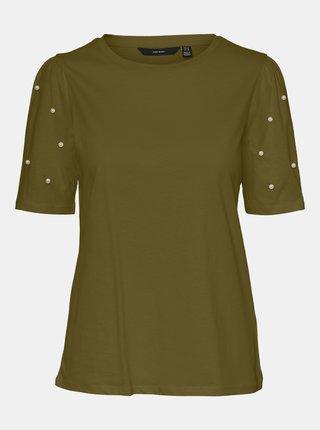 Khaki tričko s ozdobnými detaily VERO MODA Celia