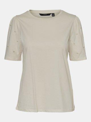 Krémové tričko s ozdobnými detaily VERO MODA Celia