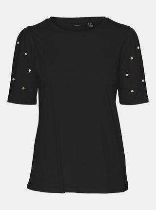Čierne tričko s ozdobnými detailmi VERO MODA Celia