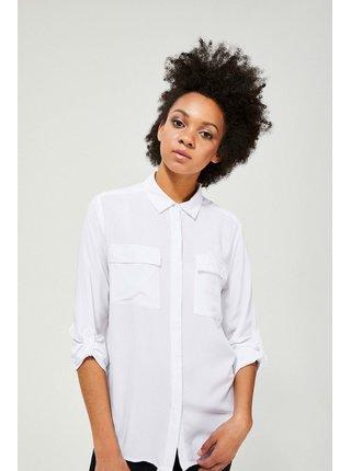 Moodo bílá propínací košile s nastavitelnými rukávy