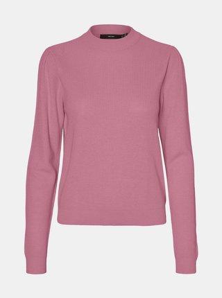 Růžový lehký svetr se stojáčkem VERO MODA Galex