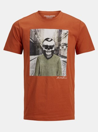 Oranžové tričko Jack & Jones Orskulling
