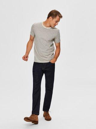 Krémové pruhované tričko Selected Homme Carl