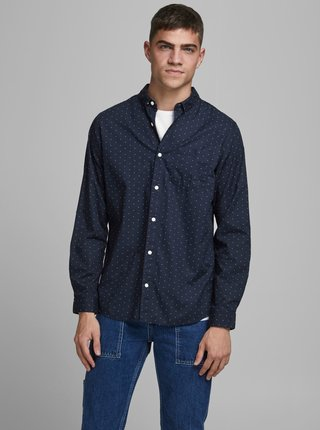 Tmavomodrá vzorovaná košeľa Jack & Jones Cowindsor