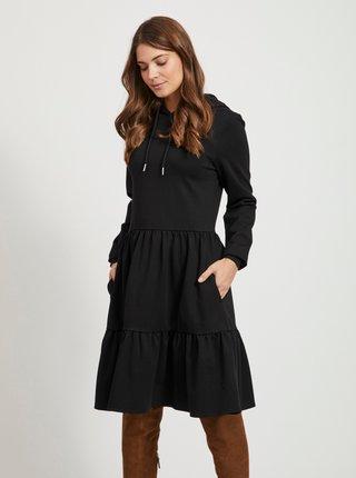 Černé mikinové šaty s kapucí .OBJECT Pilar